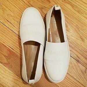 Calvin klein lether slide on shoe
